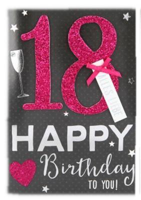 100% Glitzer Geburtstagskarte Anlasskarte Klappkarte 10496-001 Geburtstagskarte 18 - Happy Birthday