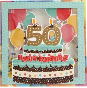 Konfetticards Klappkarten mit Konfetti 005 - 50 Happy Birthday