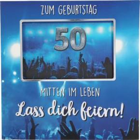 Geburtstagskarte Klappkarte 3D mit Musik & Licht Zum Geburtstag 50 Mitten im Leben!...