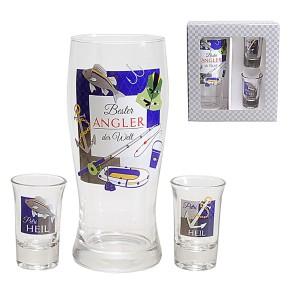 Gläser 3er Set Bier- und Schnapsglas für Angler