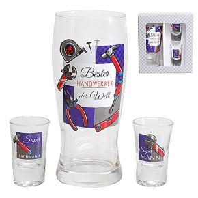 Gläser 3er Set Bier- und Schnapsglas für Handwerker