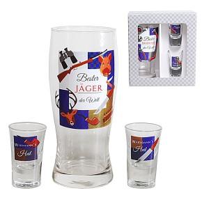 Gläser 3er Set Bier- und Schnapsglas für Jäger