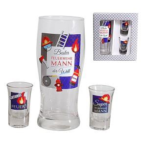 Gläser 3er Set Bier- und Schnapsglas Feuerwehr Mann