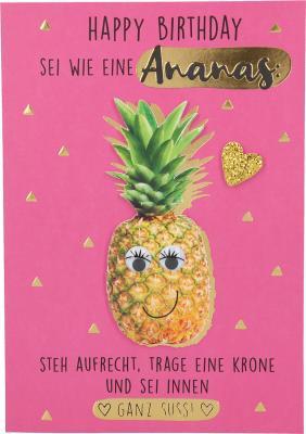 Depesche Klappkarten Bitte Laecheln - Happy Birthday sei wie eine Ananas:...