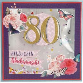 Konfetticards Klappkarten mit Konfetti 012 - 80 Herzlichen Glückwunsch