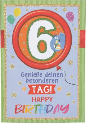 Originelle Klappkarte mit Zahlen Geburtstagskarte Zahlenmotiv zum  6.Geburtstag