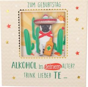 Geburtstagskarte Klappkarte 3D mit Musik & Licht Zum Geburtstag Alkohol in deinem Alter?.