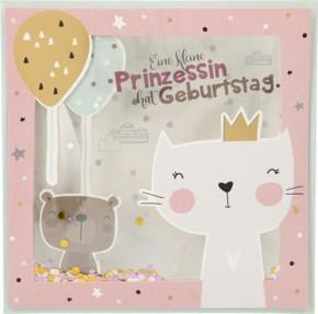 Konfetticards Klappkarten mit Konfetti 026 - Eine kleine Prinzessin hat Geburtstag.