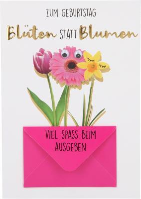 Depesche Klappkarten Bitte Laecheln - Zum Geburtstag Blüten statt Blumen...