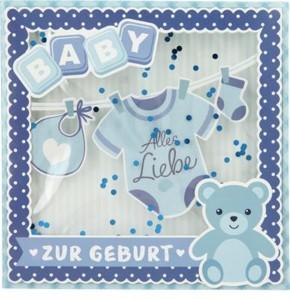 Konfetticards Klappkarten mit Konfetti 034 - Baby - Alles Liebe zur Geburt (blau)