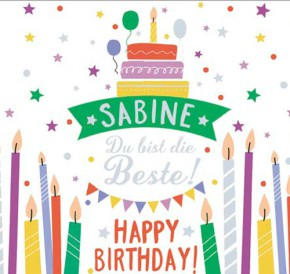 Geburtstagskerze mit Namen Sabine