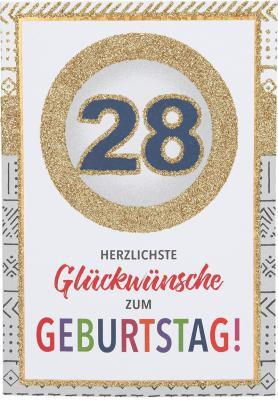 Originelle Klappkarte mit Zahlen Geburtstagskarte Zahlenmotiv zum 28.Geburtstag