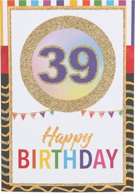 Originelle Klappkarte mit Zahlen Geburtstagskarte zum 39.Geburtstag