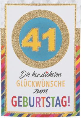 Originelle Klappkarte mit Zahlen Geburtstagskarte Zahlenmotiv zum 41.Geburtstag