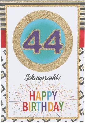 Originelle Klappkarte mit Zahlen Geburtstagskarte zum 44. Geburtstag