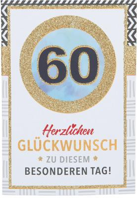 Originelle Klappkarte mit Zahlen Geburtstagskarte Zahlenmotiv zum 60.Geburtstag