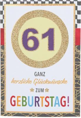 Originelle Klappkarte mit Zahlen Geburtstagskarte zum 61. Geburtstag