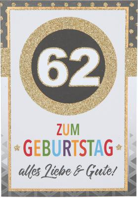 Originelle Klappkarte mit Zahlen Geburtstagskarte Zahlenmotiv zum 62.Geburtstag