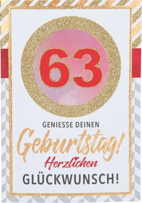 Originelle Klappkarte mit Zahlen Geburtstagskarte zum 63. Geburtstag
