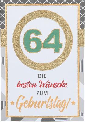 Originelle Klappkarte mit Zahlen Geburtstagskarte Zahlenmotiv zum 64.Geburtstag