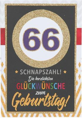 Originelle Klappkarte mit Zahlen Geburtstagskarte Zahlenmotiv zum 66. Geburtstag