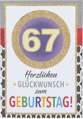 Originelle Klappkarte mit Zahlen Geburtstagskarte zum 67. Geburtstag ag