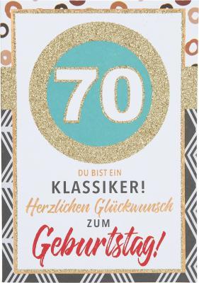 Originelle Klappkarte mit Zahlen Geburtstagskarte Zahlenmotiv zum 70.Geburtstag