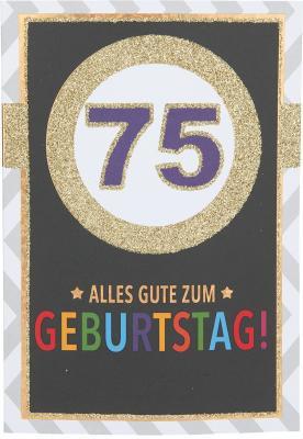 Originelle Klappkarte mit Zahlen Geburtstagskarte Zahlenmotiv zum 75.Geburtstag