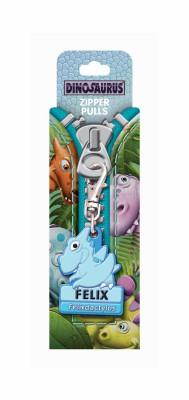 Dino Zipper Reißverschlussanhänger mit Namen Finn