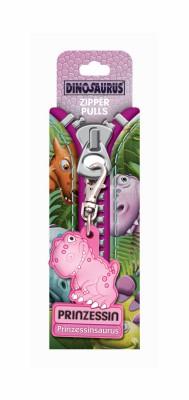 Dino Zipper Reißverschlussanhänger mit Spruch Dinosaurus pink
