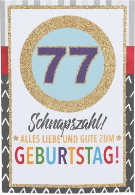 Originelle Klappkarte mit Zahlen Geburtstagskarte zum  77.Geburtstag