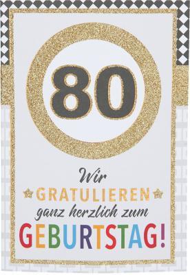 Originelle Klappkarte mit Zahlen Geburtstagskarte Zahlenmotiv zum 80.Geburtstag