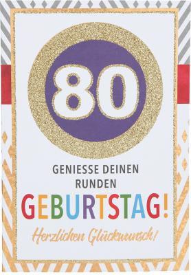 Originelle Klappkarte mit Zahlen Geburtstagskarte zum 80. Geburtstag