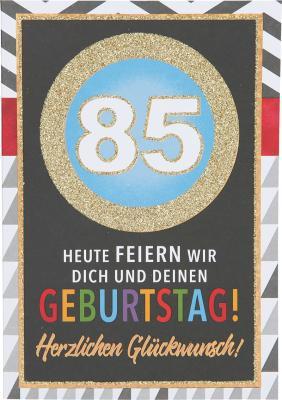 Originelle Klappkarte mit Zahlen Geburtstagskarte Zahlenmotiv zum 85.Geburtstag