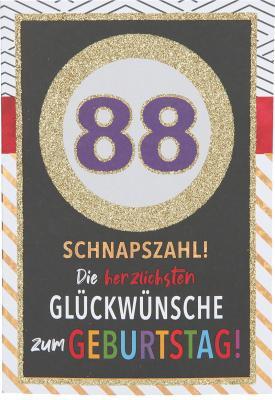 Originelle Klappkarte mit Zahlen Geburtstagskarte zum 88.Geburtstag