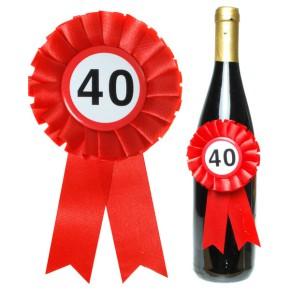 Flaschen Rosette zum 40. Geburtstag für Flaschendeko