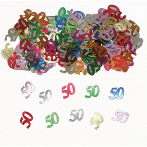 Streudeko zum 50. Geburtstag Zahlen Konfetti 50