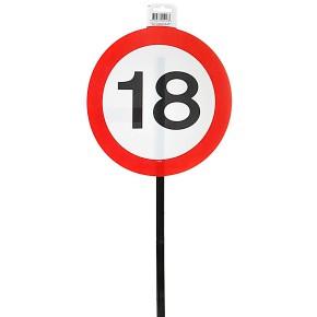 Schild 18 mit Stab zum 18. Geburtstag