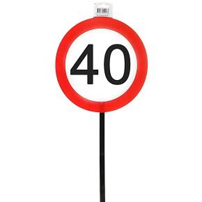 Schild 40 mit Stab zum 40. Geburtstag