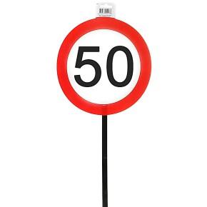 Schild 50 mit Stab zum 50. Geburtstag