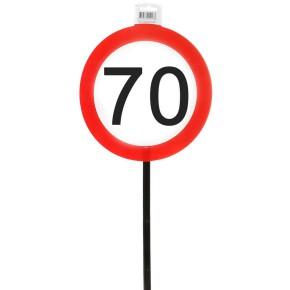 Schild 70 mit Stab zum 70. Geburtstag