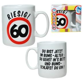 """Riesen-Becher """"Riesig! 60"""" Tasse zum 60. Geburtstag"""
