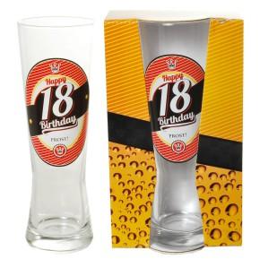 "Bierglas zum Geburtstag  ""18 Happy Birthday"""