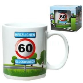 Becher 60 mit Verkehrsschild Tasse zum 60. Geburtstag