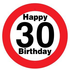 """Riesen-Schild """"30"""" mit Saugnapf zum 30. Geburtstag"""