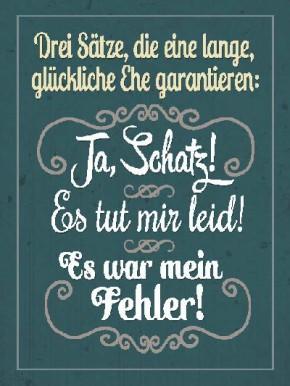 Sprüche Schild On the Wall 13,5x18 cm glückliche Ehe 016