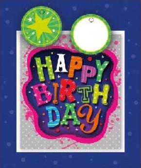 3D Kleine Geschenktüte 6 x 12,5 x 15cm Happy Birthday 002