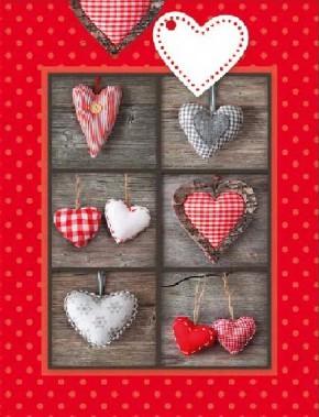 3D Geschenktüte 8 x 15 x 19,7cm Herzen - ohne Text