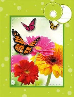 3D Geschenktüte 8 x 15 x 19,7cm Blumen & Schmetterlinge - ohne T