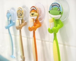 Kinder Zahnbürstenhalter mit Spruch Bitte Lächeln